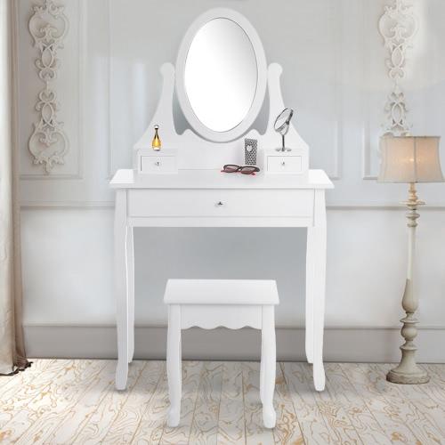 iKayaa Moda vanidad Tocador de la vendimia Conjunto Tabla Maquillaje Joyería y heces fijó con el espejo / Oval cajones Mobiliario de dormitorio blanco