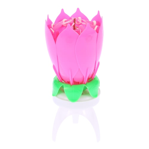 Music Lotus Flower Candle Musical Happy Birthday Rotating Blossom Romantic Cake Candles Party Decoration Supply