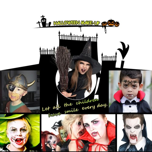 FESTNIGHT Halloween Make Up Face Paint Kit Skin Friendly Kids Adults Zombie Makeup Vivid Face Paint for Costume Show Masquerade Ba