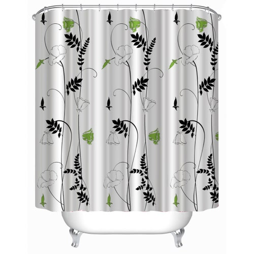Anself 180*180cm Morning-glory Flower Pattern Shower Curtain Size 71
