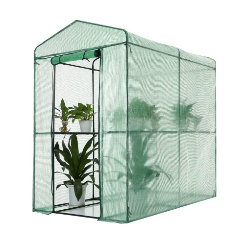 IKayaa Outdoor Garden Large Walk In Greenhouse W / 4 Étagères Renforcé PE Cover Metal Frame 1.2 * 1.9 * 1.9M (L * W * H)