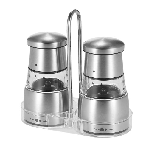 2pcs Stainless Steel Manual Pepper Shakers Grinder Set with Matching Stand Adjustable Coarseness Muller Mill Kitchen Spice Grinding Tool
