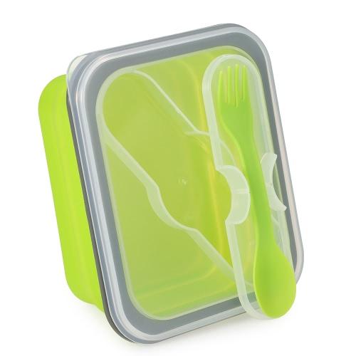 Anself 2017 New Portable Składany silikonowy Lunch Box Meal Box z pokrywą Wysuwane Piknik Lunchbox mikrofalowa Box 600ml Ekologiczne Składany pojemnik na żywność owoce Bowl