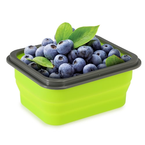 Anself 2017 New Silicone Portable Collapsible Lunch Box Meal Box with Cover Retractable Picnic Lunchbox Microwave Box 600ml Eco-Friendly Foldable Food Container Fruits Bowl