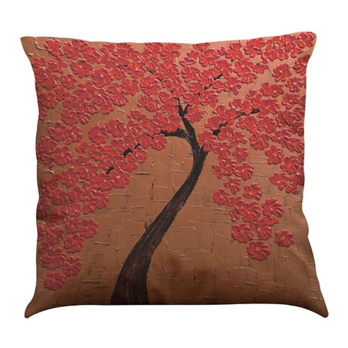Simple Fashionable Bright Colorful Red White Purple Pink Golden Flowers Trees Leaves Images Impressionism Pastoral Life Oil Painting Spring Floral Patterns Linen Square Cushion Throw Pillow Covers Pillowcases Decorative Gifts For Home Children Office Car Seat Sofa