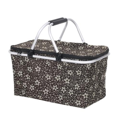 Gran capacidad plegable cesta de picnic plegable aislados bolsa de bolsa más fresco bolsa de alimentos duradero bolsa de almacenamiento de cerveza con la manija para el almuerzo Vacaciones de playa familia de camping