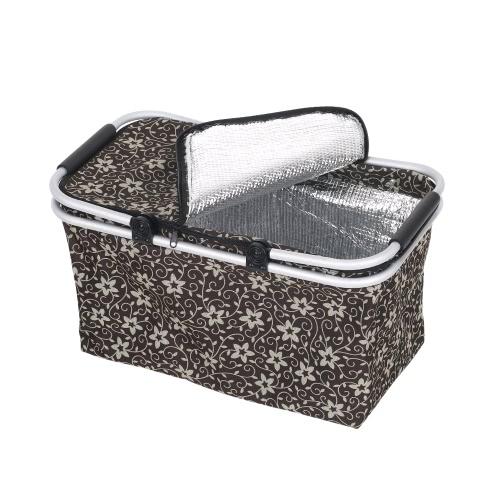 Большая емкость Складная складная корзина для пикника Изолированная сумка-холодильник Сумка для покупок Продовольственная винная корзина для хранения пива с ручкой для обедов на пляже Отдых на природе