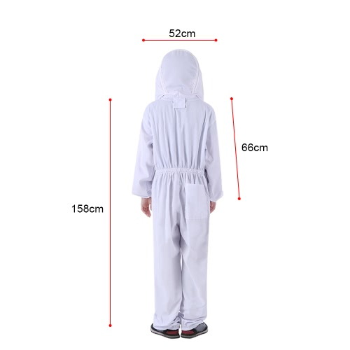 Beekeeping Protective Equipment White Beekeeping Suit with Removable Round Clear View Fencing Veil Beekeeping Full Body Suit Hat S