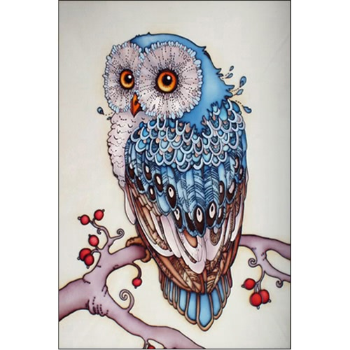 DIY Handmade 5D Diamond Painting Strass Pasted Cross Stitch Blue Owl Pattern pour Décoration murale à la maison