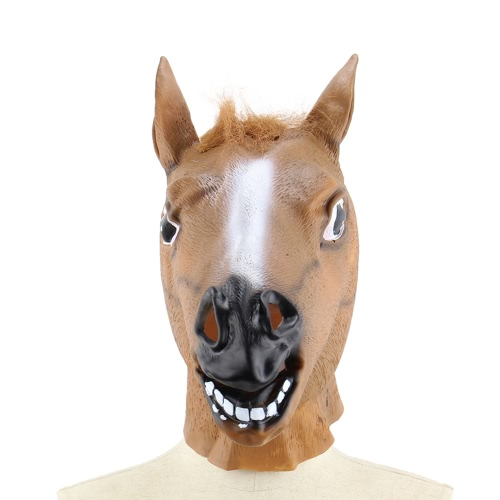 Vinyl Realistic Horse Head Mask Full Head Novelty Animal Masks for Halloween Cosplay Costume School Show