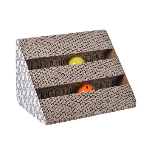 Cat Kitty Scratching Board Cardboard Scratcher Lounge Toys with Catnip Two Bell Balls for Cats Kitties Pets