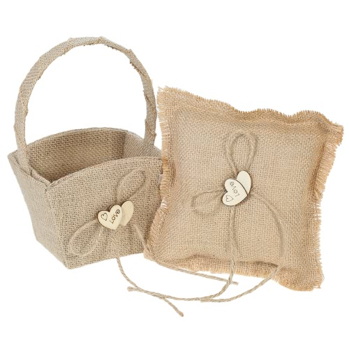 6 * 6 inches Vintage Burlap Double Heart Ring Bearer Pillow and Rustic Wedding Flower Girl Basket Set