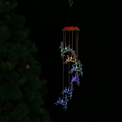 Смена цвета Светодиодный солнечный мобильный звуковой сигнал извещателя Патонор, меняющий светлый цвет Водонепроницаемый Шесть колючих колючек для звонков на дом / вечеринка / вечернее украшение сада