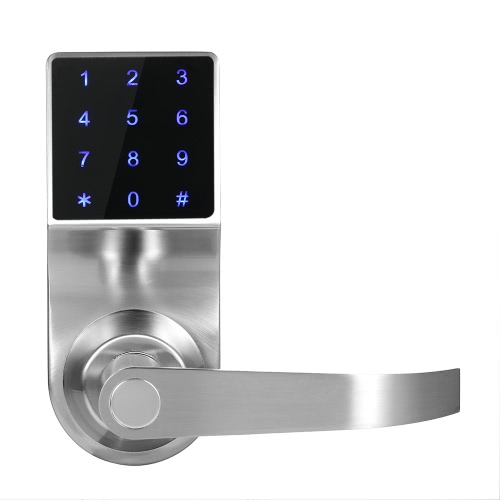 4-in-1 Electronic Keyless Touch-screen Code Door Lock Unlocked by Password + ID Card + Remote Control + Mechanical Key Home Security