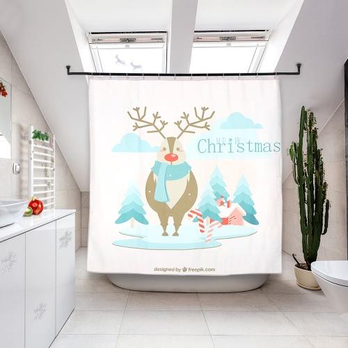 72 * 72 '' Weihnachten Santa Bad Vorhang Polyester wasserdicht Mildewproof Duschvorhang mit 12pcs Ring Haken Weihnachtsdekorationen