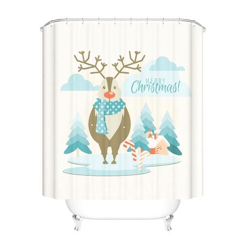 72 * 72 '' Новогодний занавес для ванной комнаты Santa Santa Водонепроницаемый мягкий занавес для душа с застежкой для ключей 12шт Рождественские украшения