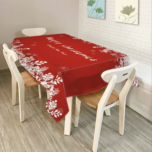 80 * 60'' Rectangle Christmas Dinner Tablecloth Polyester Printed Coffee Table Cover Christmas Decoartions