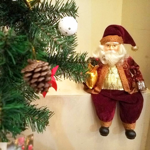 35CM Sitting Santa Claus Toy Figurine Christmas Decoration Charm Father Doll Christmas Gift Restaurant Store Furniture Ornament Di