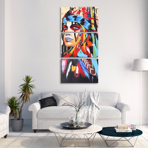16 * 24 Zoll 3-Panel Unframed wasserdicht handgemalte Ölgemälde abstrakte indische Leinwand Bilder Wand Kunst Dekor für Wohnzimmer Büro