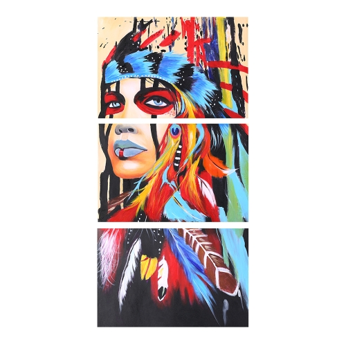 16 * 24 cali 3-Panel Unframed Wodoodporny ręcznie malowany obraz olejny Streszczenie Indian płótnie Zdjęcia Wall Art Decor dla biura w pokoju dziennym