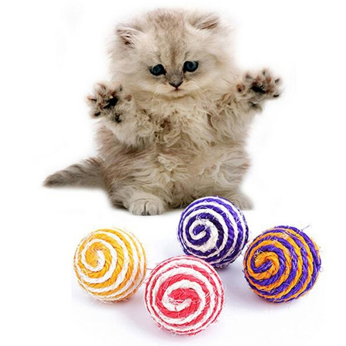 Random Color Pet Cat Toy Kitten Play Scratch Sisal Ball Interactive Teaser Playing Chew Catch Ball Training Pet Supplies