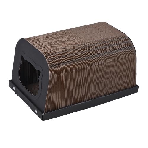 Премиум Cat Scratcher Tunnel Cat House - Складной гофрированный картон Расширяемый котенок Царапиновый тоннель Post Cat House Лабиринт для кошки Китти Котенок Черный