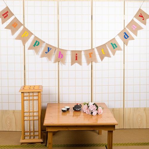 Esonmus coloré toile de jute joyeux anniversaire drapeaux bannière fête d'anniversaire décorations fournitures