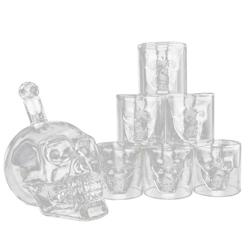 Vaso de vidrio con forma de esqueleto Vaso de beber Vaso de whisky y licor Decantador Set de regalo 6 Vasos de doble pared a prueba de calor para vino de cerveza