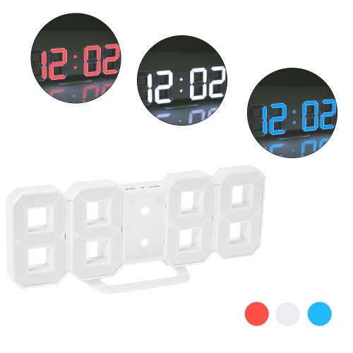 8-Shape Large Digital LED Alarm Clock USB operado azul / blanco / luz roja 12H / 24H Display ajustable LED Luminance Snooze Function Reloj de pared escritorio alarma