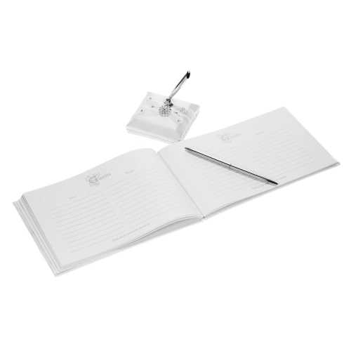 White Satin Wedding Guset Signature Book and Pen Stand Set with Lace Flower Faux Rhinestone Decoration H21027