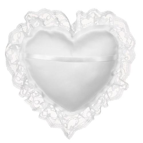 7 * 7 дюймов Белый шнурок атласа сердца Обручальное кольцо Подушка Свадебная церемония украшения
