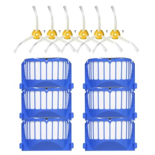 Комплект из 12 комплектов запасных частей для iRobot Roomba 600 Series 690 691 694 650 651 664 615 601 630 Пылесос - 6 фильтров + 6 боковых кистей