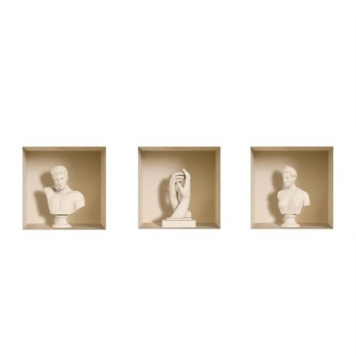 Набор из 3 белых ваз-фресок 3D съемные наклейки с наклейками из настенной наклейки DIY для гостиной Спальня софа Home Decor