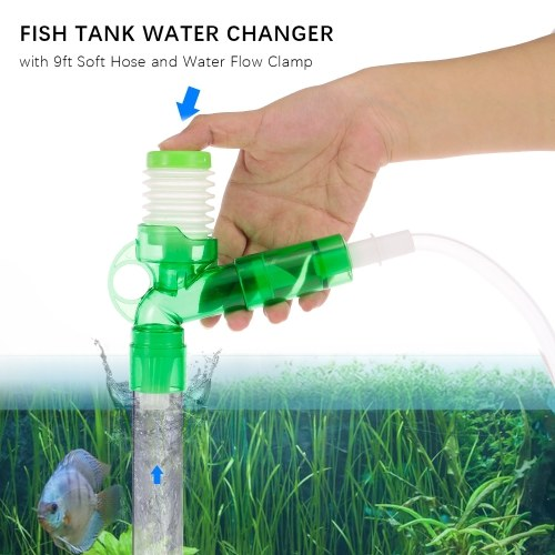 Fish Tank Water Changer Gravel Cleaner Sand Washer with 6ft Soft Hose and Water Flow Clamp