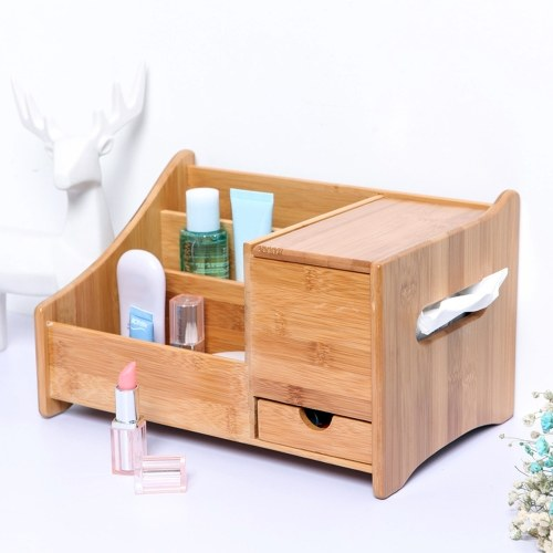 Natural Bamboo Desk Organizer with 3 Compartments & 1 Drawer & 1 C-fold Paper Hand Towel Case