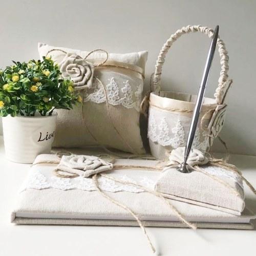 Wedding Accesorries Burlap Wedding Guest Book Pen Holder Silver Pen Flower Girl Basket Ring Pillow Set Garter Pack of 5
