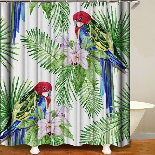 Shower Curtain Flowers Trees Print Blackout Curtains