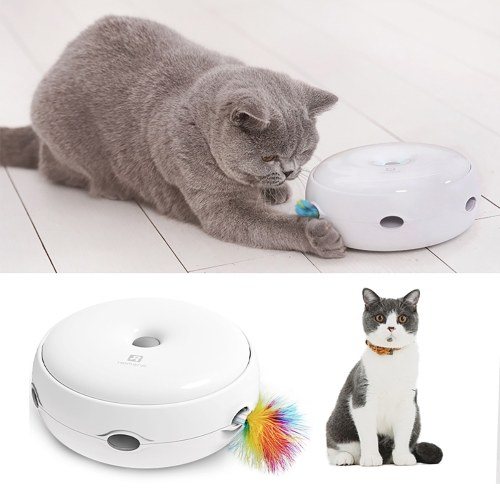 Interactive Cat Toy Electronic Smart Cat Teasing Toy with Dripping Sounds Feather Smart Modes Nighttime Light
