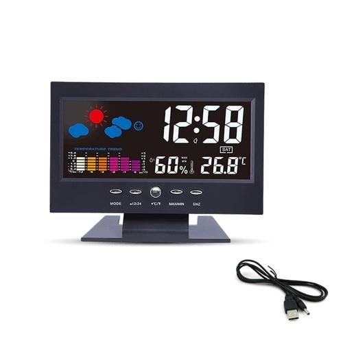 Reloj despertador multifuncional Retroiluminación Pantalla LCD Reloj digital con hora / fecha / semana / temperatura / humedad / pantalla meteorológica