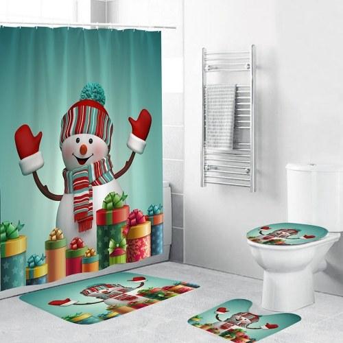 4 Stück Weihnachtsthema Badezimmer Dekoration Rutschfester Teppich