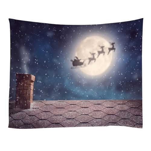Christmas Tapestries Wall Hanging Art Tapestry Polyester Xmas Fireplace Tapestry Table Cloth