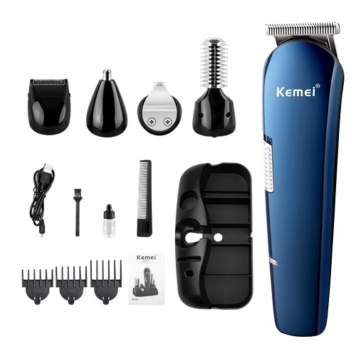 Kemei 14 PCS Men's Grooming Kit Rechargeable Electric Hair Clipper Shaver Nose Trimmer