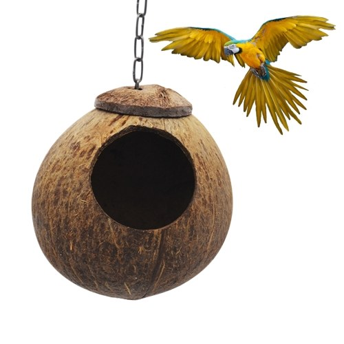 Coconut Bird Hut with Opening Coco Shell Bird House for Small to Medium Birds Nesting House for Cage Patio with Hanging Loop