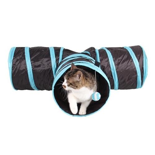 Túnel interno para gatos Túnel dobrável de 3 vias para animais de estimação