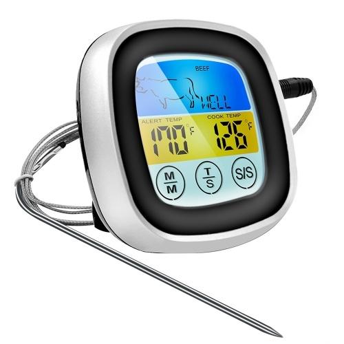 Termómetro de cocina digital Sonda Pantalla táctil a color Carne Barbacoa Herramienta de medición de temperatura de alimentos