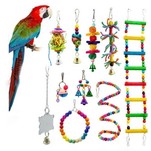 10PCS Bird Swing Chewing Toys Parrots Chewing Hanging Perches with Hammock Bell Toys for Parrot Lorikeets Birds