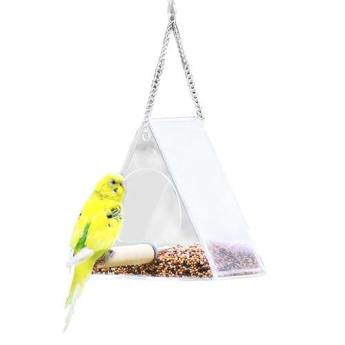 Mangiatoia per uccelli trasparente Triangolo appeso a finestra Mangiatoie acriliche