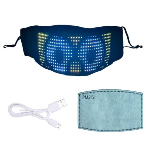 Máscara de LED Máscara de iluminação LED Cosplay Máscara BT personalizável