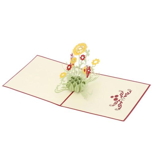 Carte d'Anniversaire Faite à Main 3D Pop Up Kirigami Pliable Carte Postale de Voeux de Noël pour Saint-Valentin Design de Tournesol