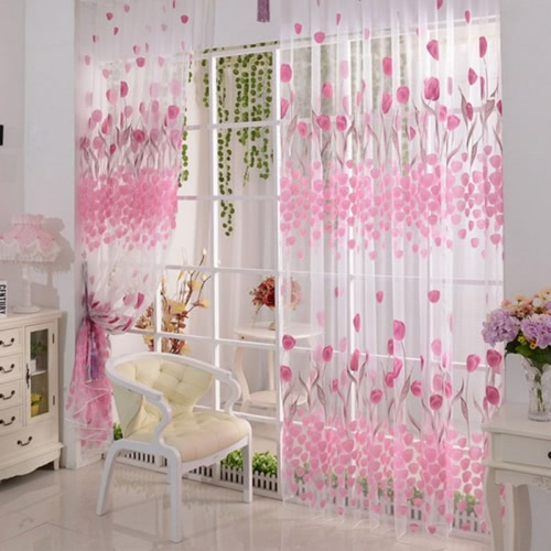 2Pcs 100*200cm Fantasy High-end Tulip Floral Pattern Door Curtains Window Curtains Door Voile Curtain Window Drape Room Divider Wall Setting Wall Decoration Classy Window Treatments Size 39